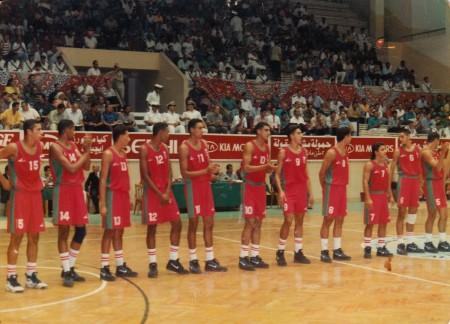 La squadra nazionale del Marocco prima di una gara dei Campionati Africani.