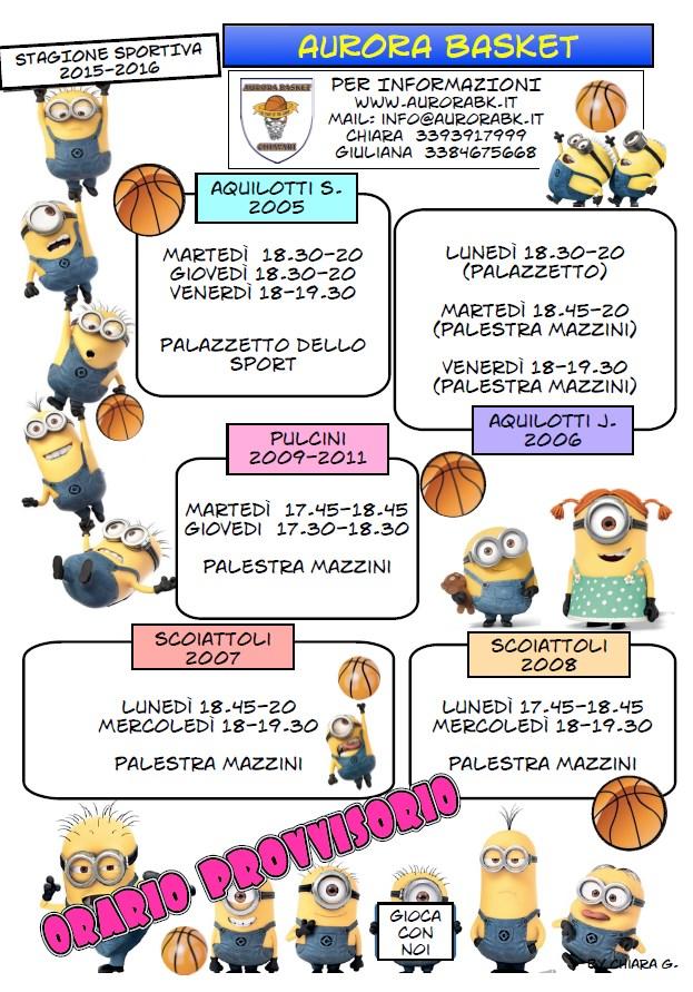 AGGIORNATO! Orario provvisorio allenamenti minibasket